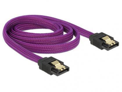 Anschlusskabel SATA 6Gb/s, Stecker/Stecker Metall, Premium Nylon Geflecht, violett, 1m, Delock® [83692]