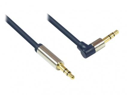 Audio Anschlusskabel High-Quality 3, 5mm, Klinkenstecker an Klinkenstecker rechts abgewinkelt, Vollmetallgehäuse, dunkelblau, 1, 5m, Good Connections®