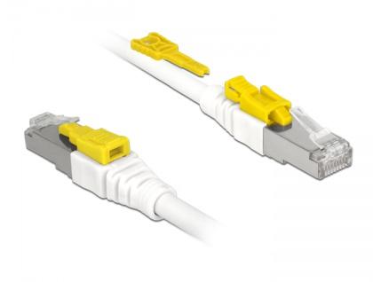 Kabel RJ45 Secure Cat.6A, weiß, 1 m, Delock® [85331]