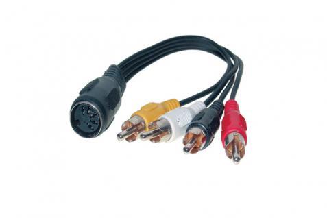 kabelmeister® Audio Adapter 5-pol DIN Bu. an 4 x Cinch St. Länge: 20cm