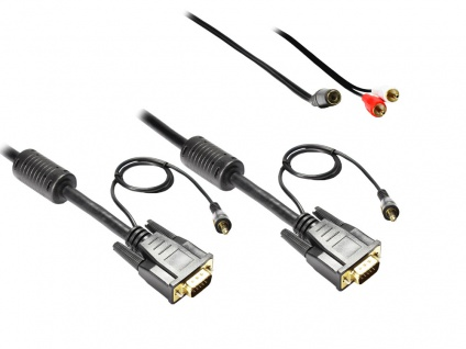 Anschlusskabel S-VGA St. + 3, 5mm Klinke St. an S-VGA St. + 3, 5mm Klinke St., 3m, Good Connections®