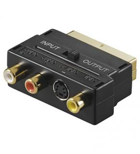 kabelmeister® Scart Adapterstecker, Scart / S-VHS + 3 x Cinch, In + Out, vergoldete Kontakte