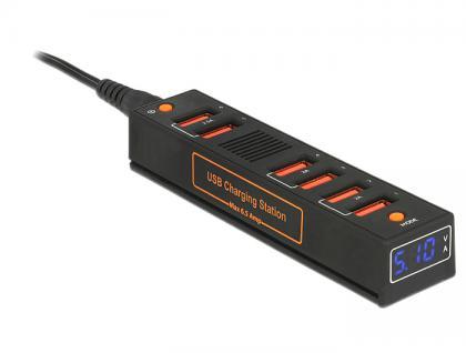 USB Ladestation 6 Port 6, 5A für EU / UK / USA mit LED Anzeige für Volt und Ampere, Navilock® [62624]