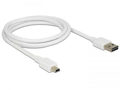 Kabel EASY-USB 2.0 Typ-A Stecker an USB 2.0 Typ Mini-B Stecker, weiß, 1 m, Delock® [85157]