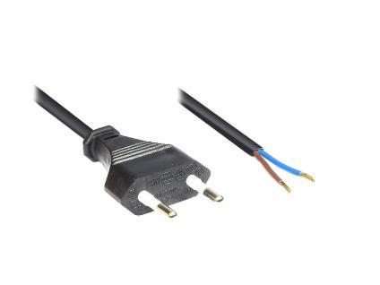 kabelmeister® Euro-Netzkabel mit abisolierten Enden, schwarz, 2m
