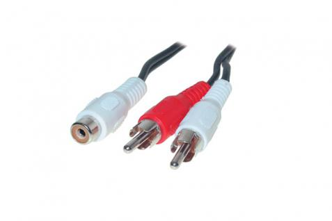 kabelmeister® Audio Adapter Mono Cinch Buchse / 2 x Stecker, 0, 2m