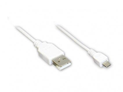 Anschlusskabel USB 2.0 Stecker A an Stecker Micro B, weiß, 3m, Good Connections®
