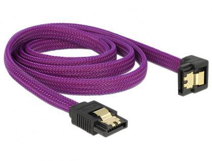 Anschlusskabel SATA 6Gb/s, Stecker gerade/Stecker nach unten gewinkelt Metall, Premium Nylon Geflecht, violett, 1m, Delock® [83697]