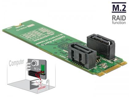 Konverter M.2 Key B+M Stecker an 2x SATA 7 Pin Stecker mit RAID , Delock® [62961]