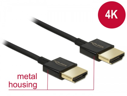 Kabel High Speed HDMI mit Ethernet - HDMI-A Stecker an HDMI-A Stecker 3D 4K 1, 5 m Slim Premium, Delock® [84772]