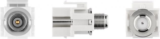 KeyStone Modul, Koax Stecker an F-Buchse, bündige Montage, Gehäuse weiß