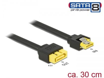 Verlängerungskabel SATA 6 Gb/s Buchse > SATA Stecker Pin 8 Power mit Einrastfunktion, 0, 3 m, Delock® [84946]