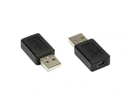Adapter USB 2.0 A Stecker zu mini USB 5pol Buchse, Good Connections®
