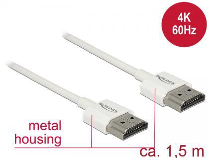 Kabel High Speed HDMI mit Ethernet, Stecker A an Stecker A, 3D, 4K, Slim High Quality, weiß, 1, 5m, Delock® [85126]