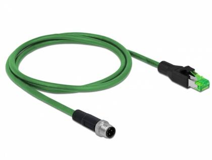 Netzwerkkabel M12 4 Pin D-kodiert an RJ45 Stecker PVC, grün, 1 m, Delock® [85437]