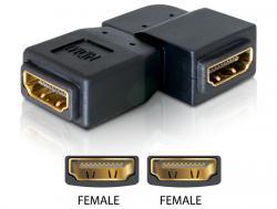 Adapter, HDMI Buchse an HDMI Buchse, 90____deg; gewinkelt, links, Delock® [65078]