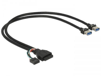 Kabel USB 3.0 Pfostenbuchse + USB 2.0 Pfostenbuchse an 2 x USB 3.0 A Buchse 45 cm, Delock® [83829]