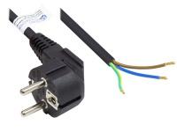 Netzkabel Schutzkontakt-Stecker Typ E+F (CEE 7/7, gewinkelt) an abisolierte Enden, schwarz, 1, 00 mm², 3 m, Good Connections®