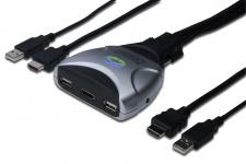 MINI USB-KVM Switch mit HDMI - 1 User, 2 PCS, im HDMI-Signal integrierte Audiountersstützung, fixierter Kabelsatz, 1, 2m Digitus® [DS-11900]