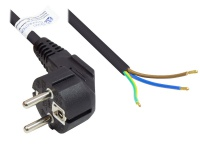 Netzkabel Schutzkontakt-Stecker Typ E+F (CEE 7/7, gewinkelt) an abisolierte Enden, schwarz, 0, 75 mm², 1, 5 m, Good Connections®