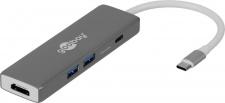 USB-C™ Multiport Adapter, 5 Gbit/s, ALU, USB-C™ Stecker an HDMI Buchse, 2x USB 3.0 A Buchse, Micro SD Card Reader, 1x USB C™ Buchse (PD 60W), grau