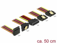 Kabel SATA 15 Pin Strom Stecker mit Einrastfunktion an SATA 15 Pin Strom Buchse 2 x gerade / 1 x unten / 1 x oben 0, 5 m, Delock® [60149]