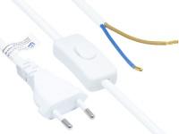 Euro-Netzkabel Euro-Stecker Typ C (gerade) an abisolierte Enden, mit Schalter, weiß, 0, 75 mm², 1, 5 m, Good Connections®