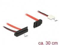 Kabel SATA 6 Gb/s 7 Pin Buchse + Floppy 4 Pin Strom Buchse (5V) an SATA 22 Pin Buchse unten gewinkelt, 0, 3m, Delock® [84851]