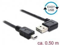 Kabel EASY-USB 2.0 Typ-A Stecker gewinkelt links / rechts an USB 2.0 Typ Mini-B Stecker, schwarz, 0, 5 m, Delock® [85175]