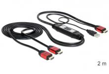 High Speed HDMI Splitter Kabel 1 in an 2 out, vergoldet Kontakte, 2 m, Delock® [83279]