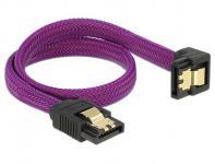 Anschlusskabel SATA 6Gb/s, Stecker gerade/Stecker nach unten gewinkelt Metall, Premium Nylon Geflecht, violett, 0, 3m, Delock® [83695]