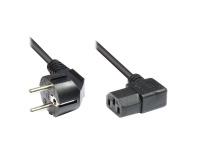Netzkabel Schutzkontakt-Stecker an Kaltgeräte-Buchse, Typ F an C13, beidseitig rechts abgewinkelt, 3m, Good Connections®