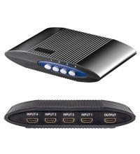 Manuelle HDMI Umschaltbox für 4 Geräte, 4IN/1OUT, schwarz