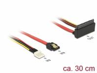 Kabel SATA 6 Gb/s 7 Pin Buchse + Floppy 4 Pin Strom Stecker an SATA 22 Pin Buchse oben gewinkelt Metall, 0, 3 m, Delock® [85518]