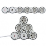 Steckdosenleiste Supraflex mit Schalter, 4-fach, 2x USB Anschluss (2x 1, 05A oder 1x 2, 1A), ÜSS, IP20, Kinderschutz, 1, 4m, weiß-grau