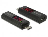 Adapter Micro USB B Stecker an Buchse mit LED Anzeige für Volt und Ampere, Delock® [65682]