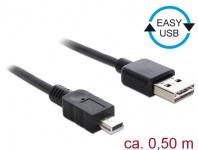 Kabel EASY-USB 2.0 Typ-A Stecker an USB 2.0 Typ Mini-B Stecker, schwarz, 0, 5 m, Delock® [85158]