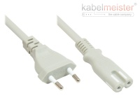 kabelmeister® Euro-Netzkabel Euro-Stecker Typ C (gerade) an C7/Euro 8 Buchse (gerade), grau, 0, 75 mm², 3 m