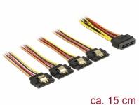Kabel SATA 15 Pin Strom Stecker mit Einrastfunktion an SATA 15 Pin Strom Buchse 4 x gerade 0, 15 m, Delock® [60156]