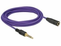 Verlängerungskabel Audio Klinke 3, 5 mm Stecker an Buchse iPhone 4 Pin, violett, 3 m, Delock® [85625]