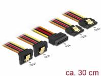 Kabel SATA 15 Pin Strom Stecker mit Einrastfunktion an SATA 15 Pin Strom Buchse 2 x gerade / 2 x unten 0, 3 m, Delock® [60151]
