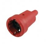 Schutzkontakt-Kupplung mit Kunststoff-/ISO-Einsatz, Gummi, rot
