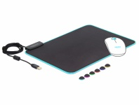 USB Mauspad 350 x 260 x 3 mm mit RGB Beleuchtung, Delock® [12554]
