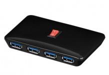 HUB USB 3.0, SuperSpeed HUB / Verteiler 4 Port, inkl. Netzteil, Good Connections®