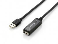 Equip® USB 2.0 Verlängerung Stecker A an Buchse A, aktiv, schwarz, 10m [133310]