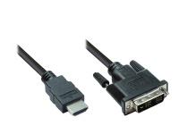 HDMI 19pol Stecker auf DVI-D 18+1 Stecker Anschlusskabel 3m, Good Connections®