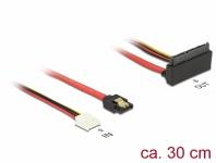 Kabel SATA 6 Gb/s 7 Pin Buchse + Floppy 4 Pin Strom Buchse an SATA 22 Pin Buchse oben gewinkelt Metall, 0, 3 m, Delock® [85517]