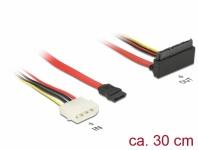 Kabel SATA 6 Gb/s 7 Pin Buchse + Molex 4 Pin Strom Stecker an SATA 22 Pin Buchse oben gewinkelt Metall, 0, 3 m, Delock® [85514]