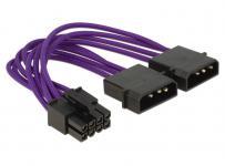 Stromkabel 8 Pin EPS an 2x 4 Pin Molex, Textilummantelung, violett, 0, 15m, Delock® [83703]