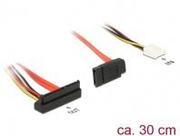 Kabel SATA 6 Gb/s 7 Pin Buchse + Floppy 4 Pin Strom Buchse (5V + 12V) > SATA 22 Pin Buchse unten gewinkelt, 0, 3m, Delock® [84854]